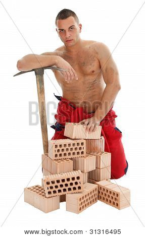 Man Worker With Pickaxe