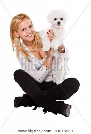 Happy Girl And White Dog