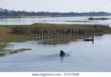 River Nile Scenery With Fishing Boats