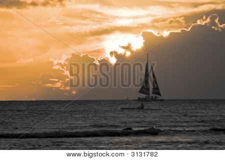 Yacht At Sunset