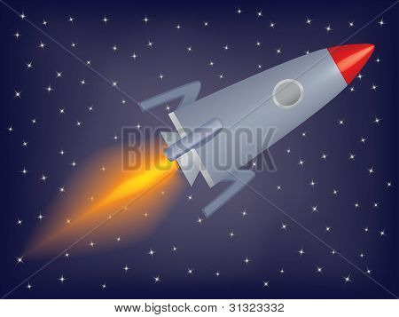 Rocket Flying In A Space