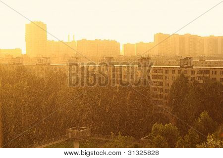 Summer Cityscape And Rain In Moscow, Russia