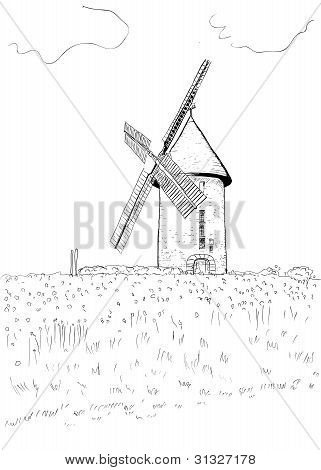 A hand drawn landscape with a windmill.