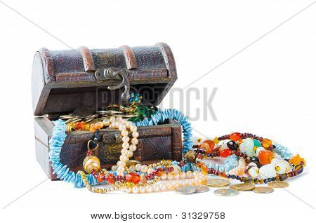 Open Chest With Treasures