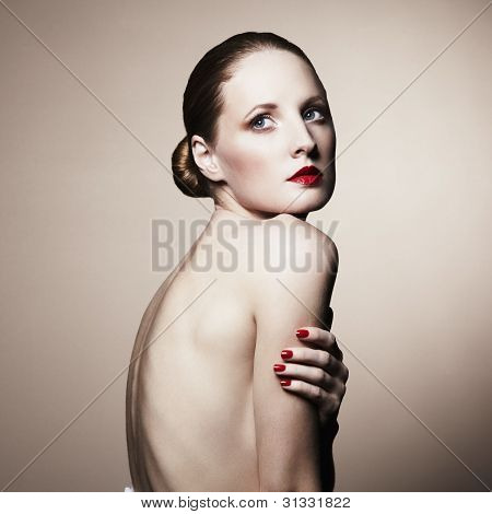 Fashion Portrait Of Nude Elegant Woman