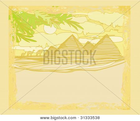old paper with pyramids and camel's - raster