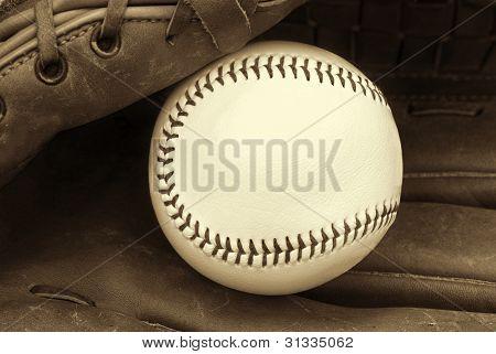 softball in glove