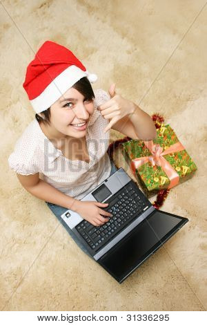 Happy Smiling Girl In Red Hat With Laptop