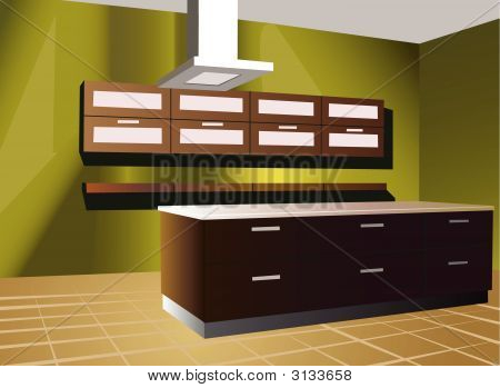 Kitchen With Green Wall Vector