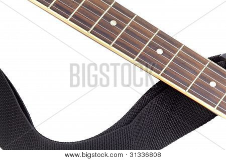 Isolated acoustic guitar fingerboard