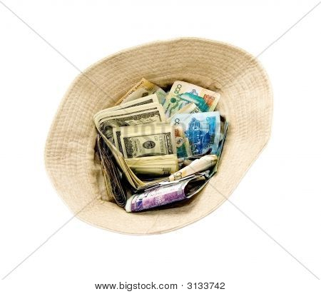 American Dollars And Kazakhstan Tenge Pell-Mell In Beggars Hat (Series Money)