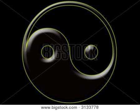 Yin Yang Black White Gold