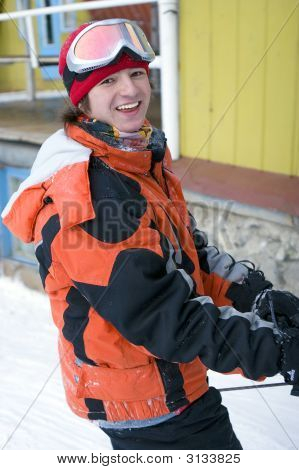 A Health Lifestyle Image Of Young Snowboarder (Series Sport, Extreme, Mountains, Horses And Teenager