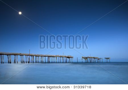 Cape Hatteras National Seashore Nc Moonlight Ocean Pier Outer Banks