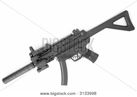 Submachine Gun With A Silencer
