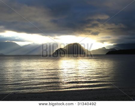 Sunset over Lake Manapouri, New Zealand