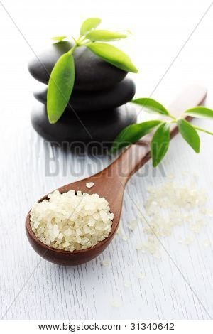Spa Salt In Spoon And Spa Stones