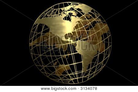 Gold Globe Black Background