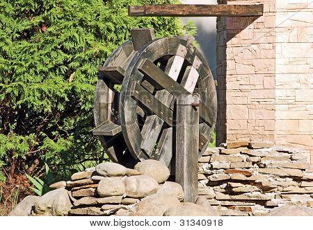 Vintage water mill wheel