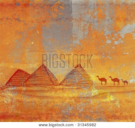 old paper with pyramids - raster