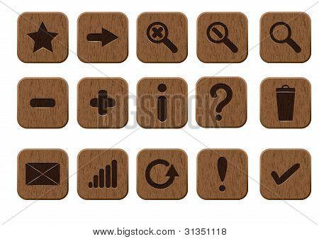 conjunto de ícones de madeira