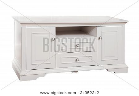 White wooden (TV) stand, with clipping path