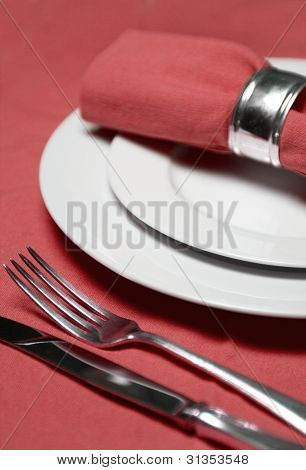 Table Setting In Red