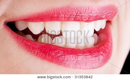 open mouth red lips