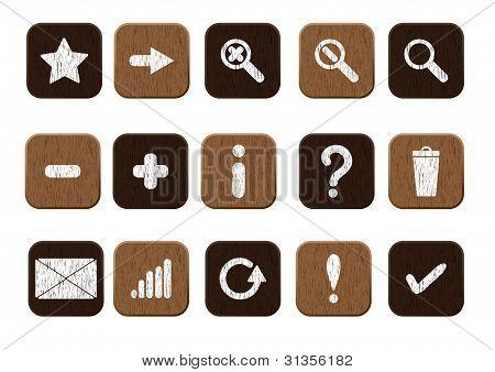 conjunto de ícones de madeira branco