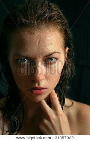 portrait of wet woman