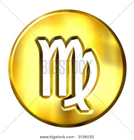 3D Golden Virgo Zodiac Sign