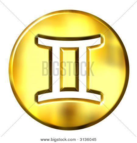 3D Golden Gemini Zodiac Sign