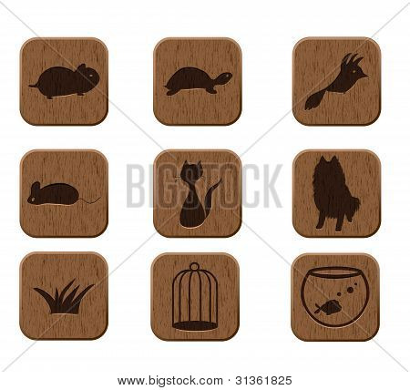 wooden icons set with pets silhouettes