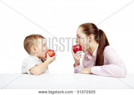 boy, woman and apples