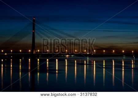 Night View Of A Suspension Bridge