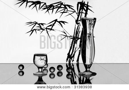 A Vase, A Wineglass And Some Little Glass Balls