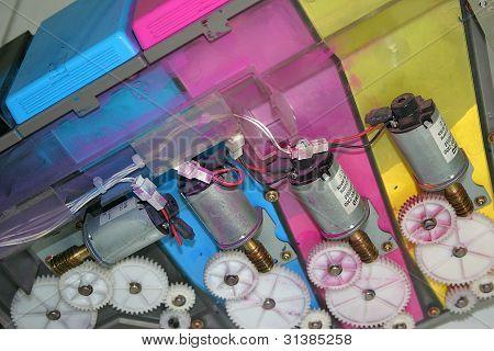 Interior of a color photocopy machine
