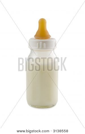 Baby Bottle Isolated On White Background, Stock Photo