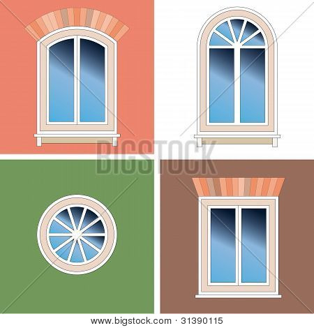 Four Classical Types Of Arched Windows With Brick Brattice Over Stucco Background