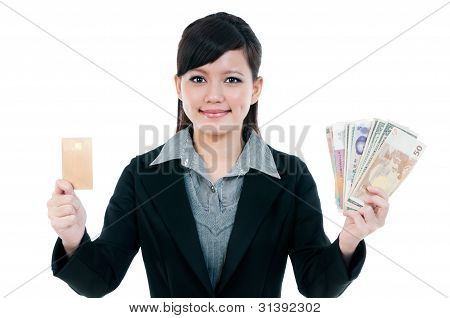 Young Businesswoman Holding Credit Card And Cash