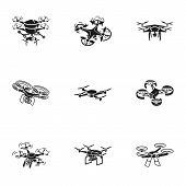 Drone Icon Set. Simple Set Of 9 Drone Vector Icons For Web Design Isolated On White Background poster
