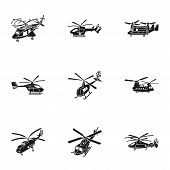 Helicopter Icon Set. Simple Set Of 9 Helicopter Vector Icons For Web Design Isolated On White Backgr poster