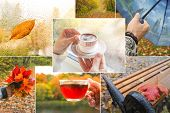 Collage With Rainy Views Of Autumn. Rainy Autumn Collage With A Cup Of Hot Coffee. poster