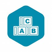 Abc Cubes Icon. Simple Illustration Of Abc Cubes Icon For Web poster