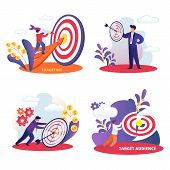 Targeting, Target Audience Set. Aim In Business, Aspirational People Mission Achieved. Challenge, Ta poster