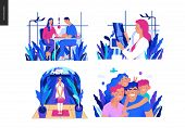 Set Of Medical Insurance Illustrations -blood Test, X-ray Test, Home Medical Assistance, Family Insu poster