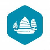 Junk Boat Icon. Simple Illustration Of Junk Boat Icon For Web poster