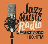 Vector Banner For Jazz Music Radio With Microphone And Inscription In Retro Style. Radio Broadcastin poster