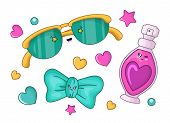 Cute Cartoon Set With Kawaii Perfume And Fashion Accessory - Sunglasses, Bow, Woman Stuff Or Girls G poster