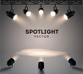 Spotlights With Bright White Light Shining Stage Vector Set. Illuminated Effect Form Projector, Illu poster